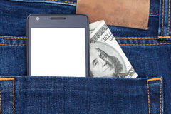 Phone in pocket displaying white screen. Cash Royalty Free Stock Images