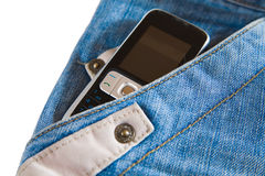 Phone in pocket of jeans Stock Images