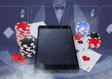 Phone with poker casino chips and playing cards  with croupier. Digital composite of Phone with poker casino chips and playing cards  with croupier Royalty Free Stock Photos