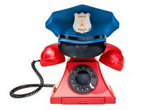 Phone with Police Cap, 911 concept. 3D rendering. Isolated on white background Royalty Free Illustration