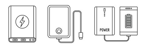 Phone power bank icon set, outline style stock illustration