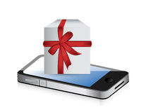 Phone present gift box illustration design Stock Photo