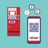 Phone with qr code, ATM cash withdrawal. Vector. Vector. Vector illustration with phone with qr code, ATM cash withdrawal, currency exchange at ATM. Electronic stock illustration