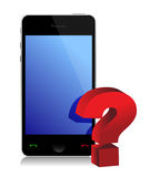 Phone and question mark Stock Image