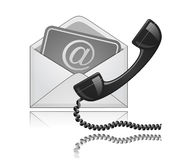 Phone receiver and e-mail. Contact Us illustration. Phone receiver and e-mail