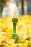 Phone receiver hanging in autumn park Stock Images