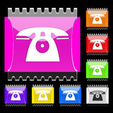 Phone rectangular  buttons. Set of rectangular  buttons with phone icon. EPS10 Stock Photography