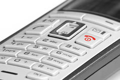 Phone with red Key. Mobile Phone with Red Button royalty free stock photos