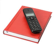 Phone on red organizer Royalty Free Stock Photo