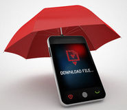 Phone and red umbrella protect concept Stock Photo