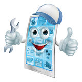 Phone repair cartoon character Stock Image