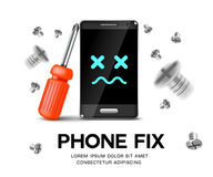 Phone repair fix poster background vector illustration. phone with screwdriver and screws.  Royalty Free Stock Photos