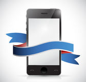 Phone and ribbon illustration design Stock Photos
