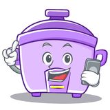 With phone rice cooker character cartoon Stock Image