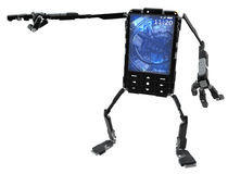 Phone Robot, Pointing Stock Photo