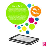 Phone round. Vector smartphone with colorful circles with text Royalty Free Stock Photo