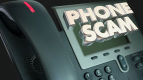 Phone Scam Fraud Call Solicitation Words. 3d Illustration stock illustration