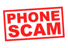 PHONE SCAM. Red Rubber Stamp over a white background stock illustration