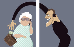 Phone scam targets seniors. Scammer talks on a phone with a senior woman and trying to steal money out of her purse, vector illustration, no transparencies, EPS stock illustration