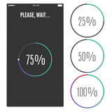 Phone screen with loading percentage marks. Icons progress bar. Royalty Free Stock Images