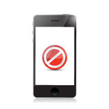 Phone screen with the message forbidden. Royalty Free Stock Photos