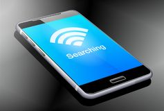 Phone Searching Wifi Signal, 3D illustration Royalty Free Stock Photos