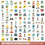 100 phone section icons set, flat style. 100 phone section icons set in flat style for any design vector illustration stock illustration