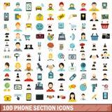 100 phone section icons set, flat style. 100 phone section icons set in flat style for any design vector illustration Stock Illustration