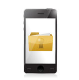 Phone and secured folder illustration Royalty Free Stock Photography