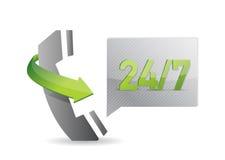 Phone 24 7 service illustration Royalty Free Stock Photo