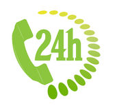Phone services. 24 hours phone services icon or symbol Royalty Free Stock Image