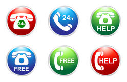 Phone services buttons. Free and help 24h phone services buttons Royalty Free Stock Photography