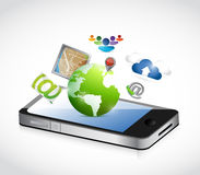 Phone and set of apps illustration design Stock Images