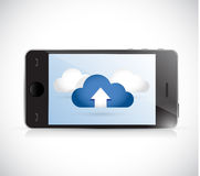 Phone and set of clouds. illustration Stock Photo