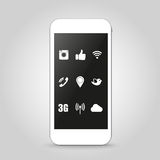 Phone with shadow social network icons stylish illustration Royalty Free Stock Photos