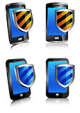 Phone shield antivirus 3D and 2D. Phone antivirus security protection, firewall digital shield concept Stock Photos