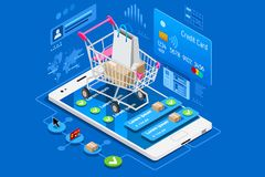Phone shop and credit card. Phone shop with credit card on ecommerce interface. Can use for web banner, infographics, hero images. Flat isometric vector Stock Image