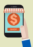 Phone shopping Stock Images