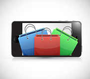 Phone and shopping bags. illustration design Royalty Free Stock Images