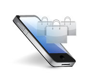 Phone with shopping bags. illustration design Royalty Free Stock Photography
