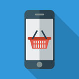 Phone with shopping basket. Color Flat design style. Vector illustration Stock Image