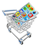 Phone in shopping cart. An illustration of a smart mobile phone or tablet PC in shopping cart trolley Royalty Free Stock Photo