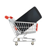 Phone in a shopping cart isolated Stock Images