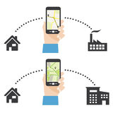 Phone showing route map. Vector illustration of hand holding phone showing route map Stock Illustration