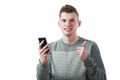 Phone and shows thumb up Royalty Free Stock Photography