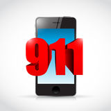 911 phone sign concept illustration. Design over white Stock Photos