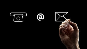 Phone, At Sign and Envelope Icons Stock Photos