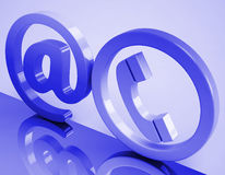 At Phone Sign Means E-mail And Telephone Stock Image