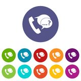 Phone sign and support speech bubbles set icons Stock Photos