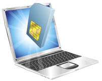 Phone SIM card icon laptop concept Royalty Free Stock Photo